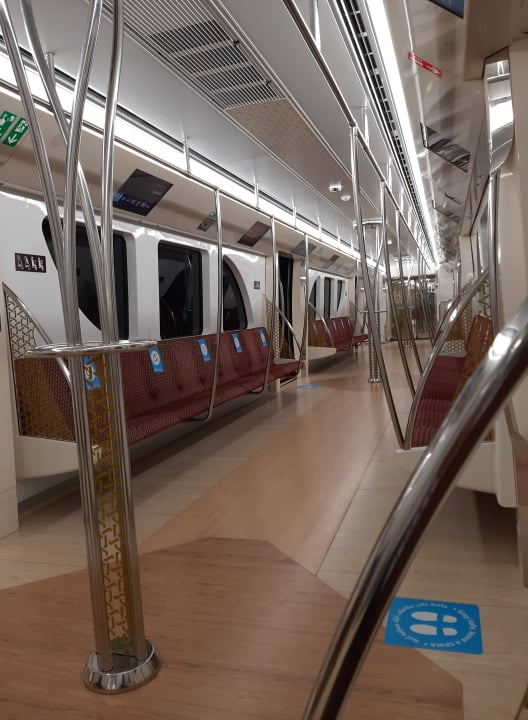 Metro Rail Station in Doha, Qatar. Operating only at 30% capacity at starting 1st of September 2020 due to COVID19 protocols.